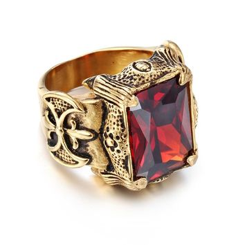 Men's Punk Ring Gold-colour Gothic Stainless Steel Ring Green Purple Clear Red Stone Big Ring Hot Selling Size 8 9 10 11 12 13