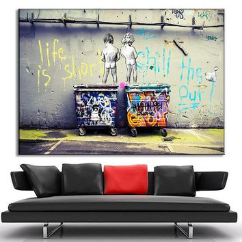 Large Size Banksy Art Life Is Short Chill The Duck Out Painting Prints on Canvas Modern Kids With Dustbin Wall Art Home Decor