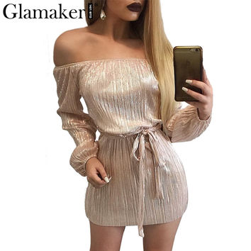 Glamaker Sexy off shoulder summer dress Women slash neck wrap short dress Elegant black dresses prom evening party vestidos