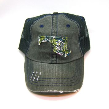 Maryland Trucker Hat - Distressed - Floral Fabric State Cutout
