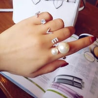 Simple Temperament All Match Finger Ring Rhinestone LOVE Letter Rings For Women