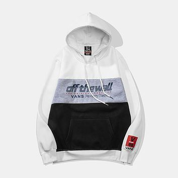VANS new tide brand hit color hooded sports and leisure sweater White