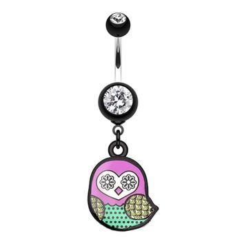 Patterned Owl Belly Button Ring
