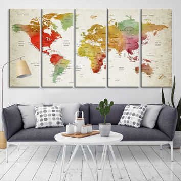 54665 - Large Wall Art World Map Canvas Print- Custom World Map Push Pin Wall Art- Custom World Map Canvas Poster Print- Personalized Wall Art