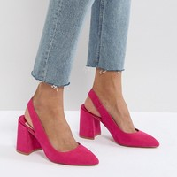 Faith Chunky Slingback Block Heeled Shoes at asos.com