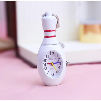 Family Friends party Board game chaoyada Key chain Vintage white color Quality Classical white Tone Cool Fashion Necklace Quartz bowling ball Pocket Watch AT_41_3