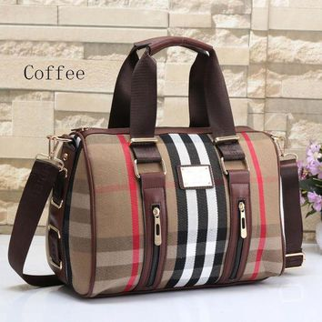 Gotopfashion Burberry Fashion Ladies Zipper Leather Shoulder Bag Satchel Tote Travel Bag Handbag Coffee I