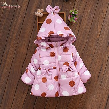 Winter Baby Infants Girls Kids Bow Hooded Thicken Down-Cotton Dot Polka Snow Wear Velvet Jacket Outwear Parkas Coat Casaco S5897
