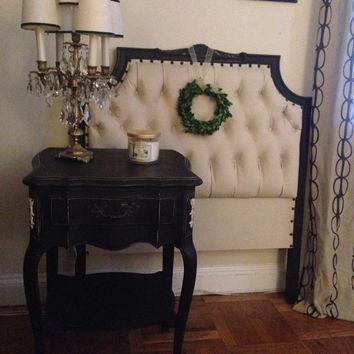 Vintage Twin Tufted Headboard Custom Painted in Annie Sloan Old Ochre & Graphite