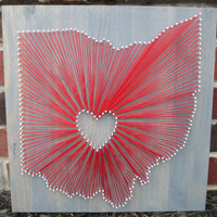 String Art State, Any State, Ohio State Buckeyes, Home is Where the Heart Is, Nail and String Art, 16x16