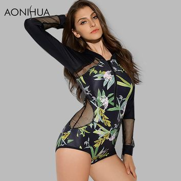 AONIHUA 2018 Design Mesh Hollow One Piece Swimsuits Women tranquil Print Swimwear female Push up Long sleeve swimming Suit 9022