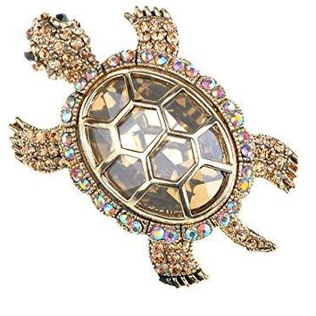 Alilang Golden Tone Light Brown Iridescent Colored Rhinestones Turtle Tortoise Shell Brooch Pin