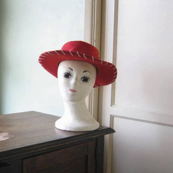 Red Cowboy Style Hat w/ Wide Brim; Small Woman's or Child-Size for Old-Time Costume; Gaucho, Cowgirl