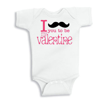 I Mustache You to Be My Valentine Baby Shirt - Valentine's Day Bodysuit for Baby - Baby Valentine's Day Shirt