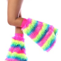 Clubstyle Neon Rainbow Stripe Fluffies : UV Reactive Furry Leg Warmers and GoGo Covers