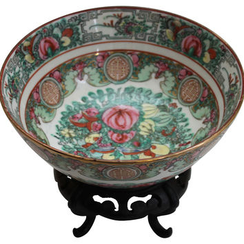 Rose Medallion Bowl w/  Stand