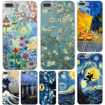 Lavaza Vincent Van Gogh Starry Sky Oil Painting Hard Transparent Case for iPhone 8 8 plus 7 7 Plus X (10) 6 6s Plus 5 5S SE 4 4S