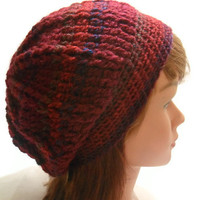 Crochet Cabled Slouchy Saggy Beanie Tam Hat in Dark Red