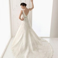 Zippered Lace Wedding Dress