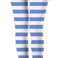 Retro style leggings, horizontal marine stripes pattern, white and light blue lines