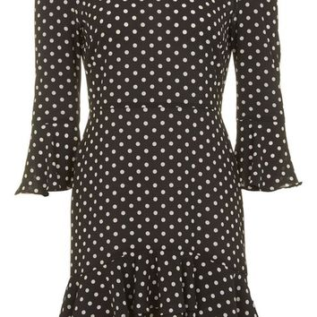 Spot Frill Bardot Dress - Dresses - Clothing