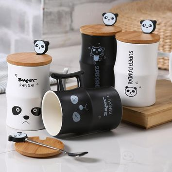 Ceramic Panda Coffee Mug With Spoon & Bamboo Lid