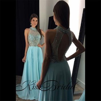 Robe De Soiree Mermaid Beaded Long Evening Dresses Party Elegant Vestido De Festa Sheer Neck Backless Tulle Prom Gowns