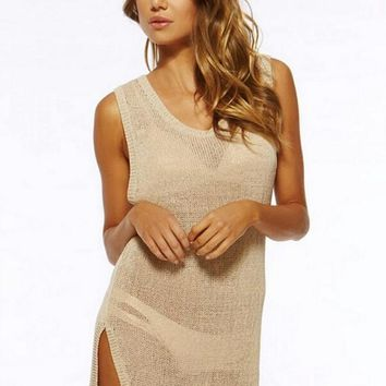 Streetstyle  Casual Apricot Plain Hollow-out Sleeveless Beach Mini Dress
