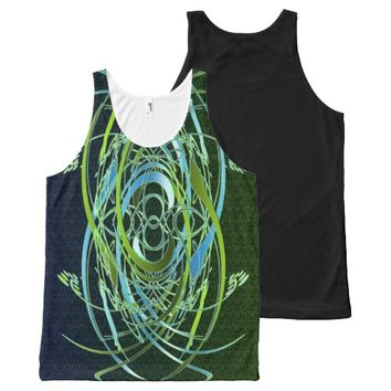 Green n Blue Swirls All-Over Print Tank Top