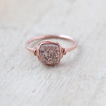 Gilded Druzy Cushion Cut Ring - Rose Gold