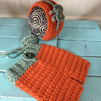 Rust and Teal Hat and Pants Set, Photo Prop, Photography Prop, Rust and Teal Hat, Baby, Newborn, Tieback, Shower Gift, Christmas Gift