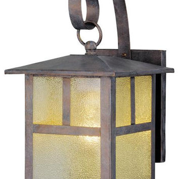 One-Light Outdoor Wall Lantern, Bronze Patina Finish on Steel with Clear Textured Glass Panels