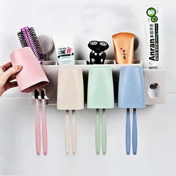 Automatic Toothpaste Dispenser 4pcs Wash Cups Holder Set Wall Mount Stand Toothbrush Family Toothbrush Holder Bathroom Household