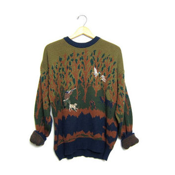 slouchy hunting sweater 90s DUCK SCENE olive brown slouchy knit 80s pullover Forest Trees Nature preppy dog sweater XL