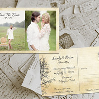 "50 Wedding Save The Date Cards - TwinePark Vintage Photo Personalized 4""x6"""