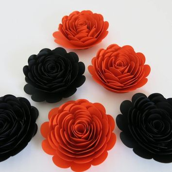 "Halloween Party Decorations, Set of 6 Orange and Black Roses, 3"" Paper Floral Blooms, Fall Wedding, Mystery Dinner Table Decor"