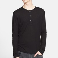 Men's Pierre Balmain Embroidered Script Henley,
