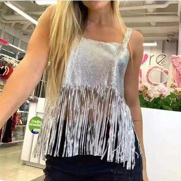 Backless Sequin Fringed Sexy Vest Tank Top