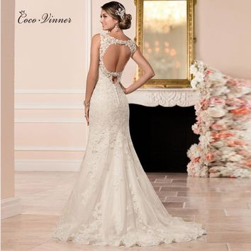 C.V Sexy Backless Lace Mermaid Wedding Dress 2017 Real Photo Vestido De Noiva Fish Training Bridal Dress Custom Made casamento