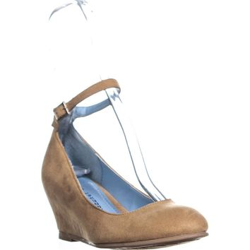 Chinese Laundry Abstract Ankle-Strap Wedge Heels, Natural Suede, 7 US / 37.5 EU