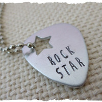 Rock Star Guitar Pick Necklace Silver Jewelry gift for best friend wife daughter son girlfriend musician play rockstar metal pick