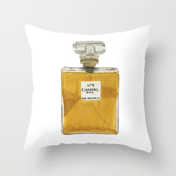 Chanel No 5 Throw Pillow by Brittany Stechschulte