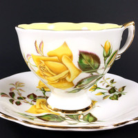 Royal Standard Yellow Rose Floral Teacup and Saucer, Tea Cup Made in England J-1701