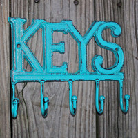 Cast Iron KEYS Hanger/  Laguna Green Key Rack/ Bright Fun Wall Hook/ Shabby Chic Decor/ Painted Distressed Metal Holder/ Beach Cottage