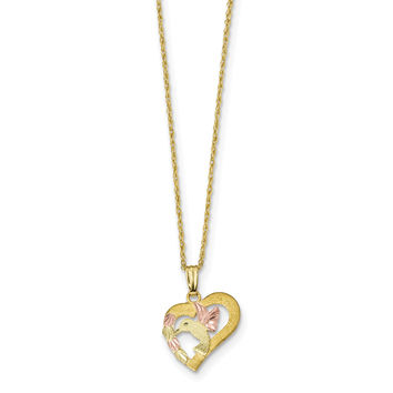 10k Tri-Color Black Hills Gold Hummingbird in Heart Necklace 10BH692