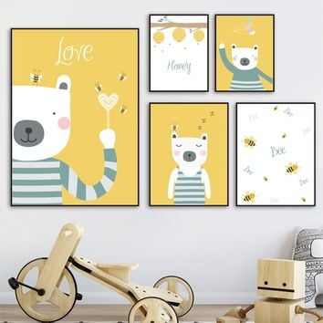 Wall Art Canvas Painting Honey Bear Bee Kids Bedroom Nordic Animal Posters And Prints Boy Wall Pictures For Living Room Decor