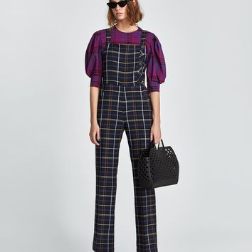 CHECKED DUNGAREES DETAILS