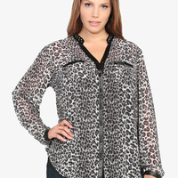 Studded Mandarin Collar Animal Print Tunic