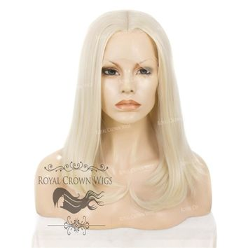 "17 inch ""Victoria"" Straight Texture Bob Heat Safe Synthetic Wig White/Platinum Blonde Mix"