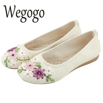 Wegogo Women Flower Flats Slip On Cotton Fabric Casual Round Toe Oxford Ballet Shoes Woman Linen ballerina Flat Plus Size 42